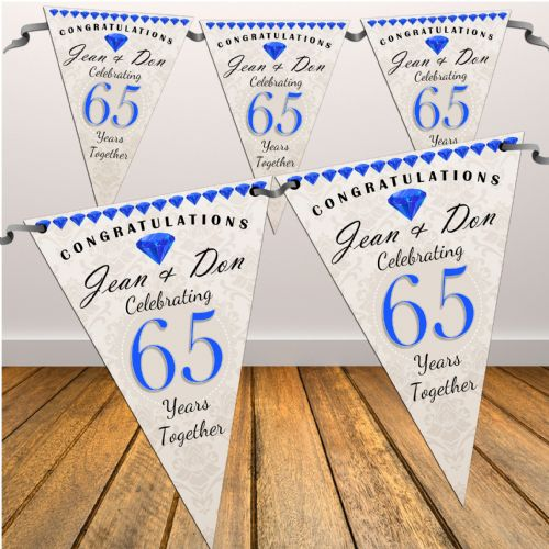 Personalised 65th Wedding Anniversary Celebration Flag Banner Bunting - N56